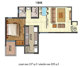 Lodha Palava Floor Plan 1 BHK