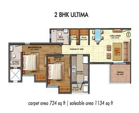 Lodha Palava Floor Plan 2 BHK Ultima